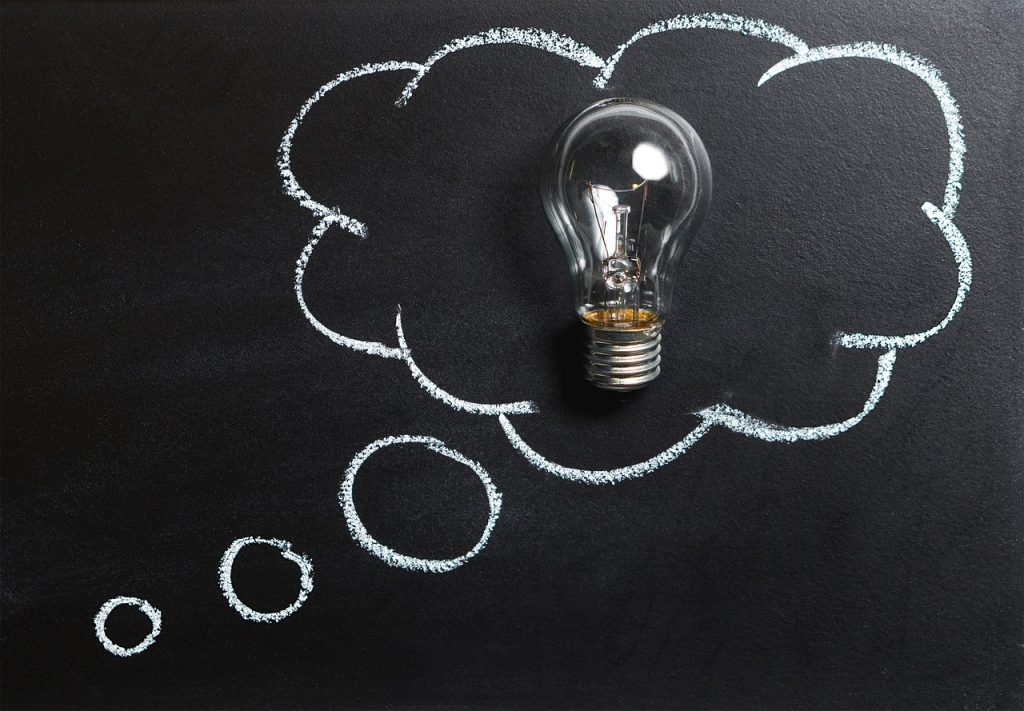 Lightbulb in a thought bubble...brainstorming