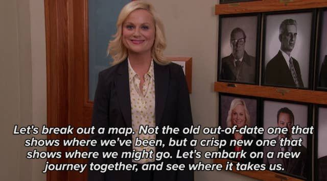 Leslie Knope quote about working together to move forward.