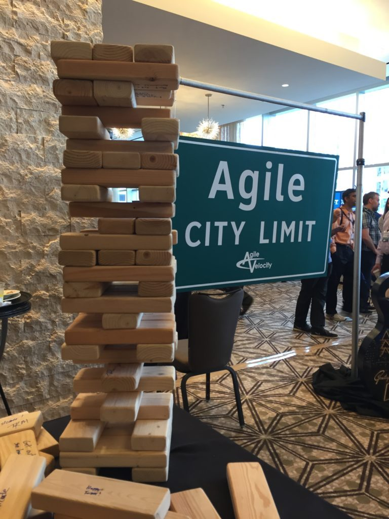 Jenga tower, with Agile tips written on each one
