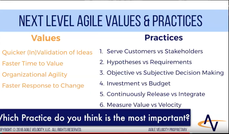 Next Level Agile Values and Practices