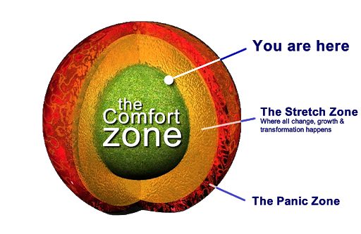Levels of comfort are represented as a layered sphere. The Comfort Zone is surrounded by the Stretch Zone, which is all encompassed by the Panic Zone.