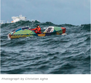 Photo of Lia Ditton in her rowing solo across the Pacific Ocean.