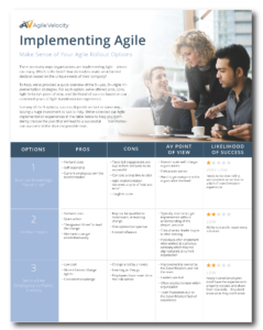 Table exploring 8 agile implementation approaches. Our coaches will help you select the best way for your business outcomes.