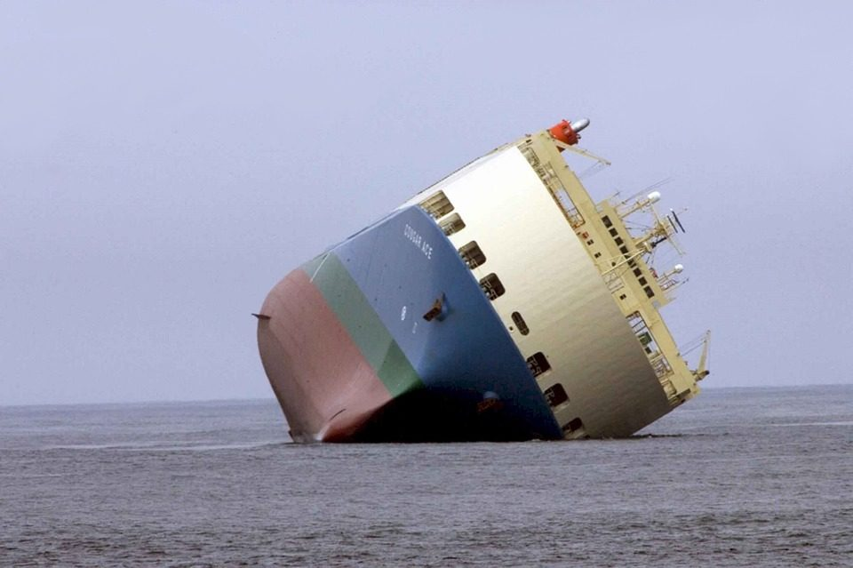 The image is a ship leaning on its side. We discuss Agile transformation OKRs leaders can use to avoid wrecking ship.
