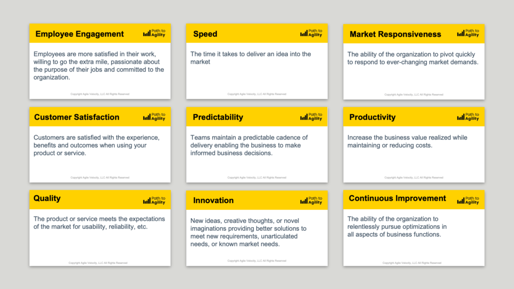 The 9 business outcomes impacted by the Agile transformation framework, Path to Agility