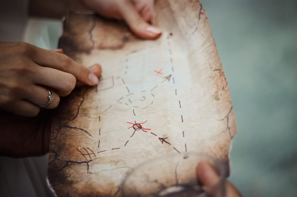 A treasure map to symbolize how value stream mapping can lead to faster value delivery and better Agile transformations.